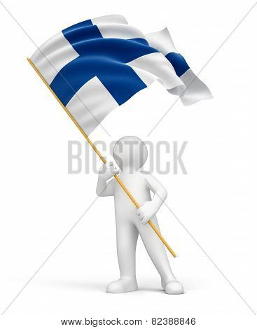 Man and Finnish flag (clipping path included)