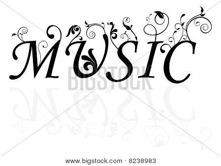 Abstract illustration of the music word with swirls