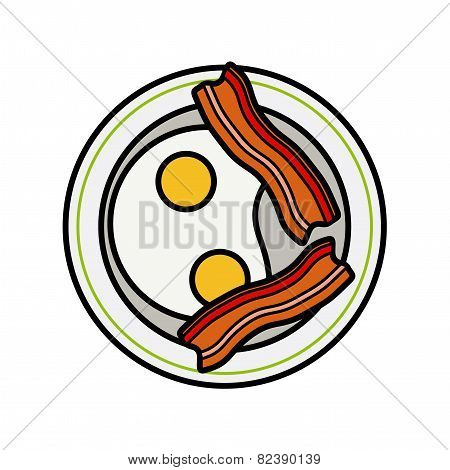 Eggs and bacon. Four delicious fried eggs and slices of crisp bacon