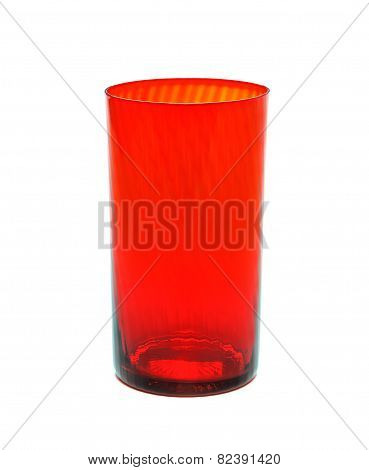 Red glass beaker on a white background