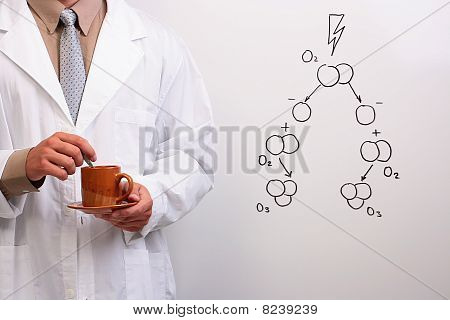Scientist Holding A Cup Of Coffee