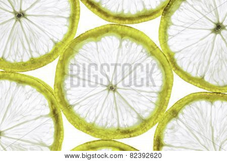 Slim lemon slices isolated on a white background in the horizontal format