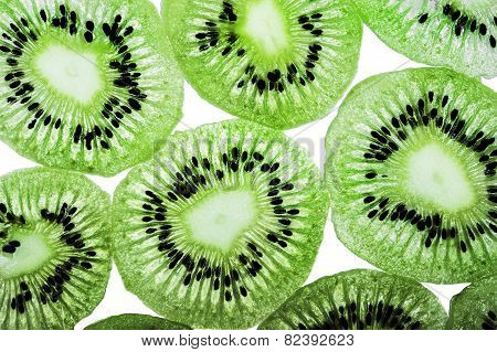Slim kiwi fruit slices isolated on a white background in the horizontal format