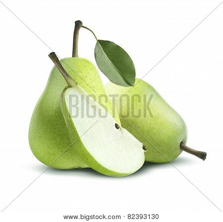 Two Green Pears And Quarter Composition Isolated On White Background