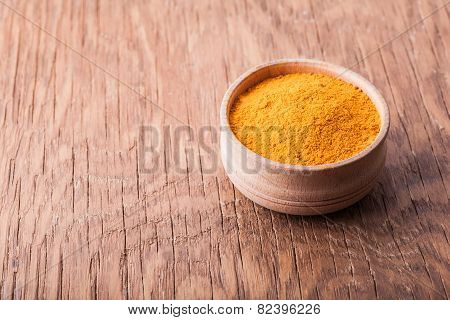 Spice Turmeric In A Wooden Bowl