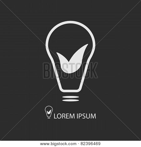 White bulb with leaves on dark grey