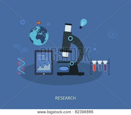 Vector research flat infographic with a laboratory microscope