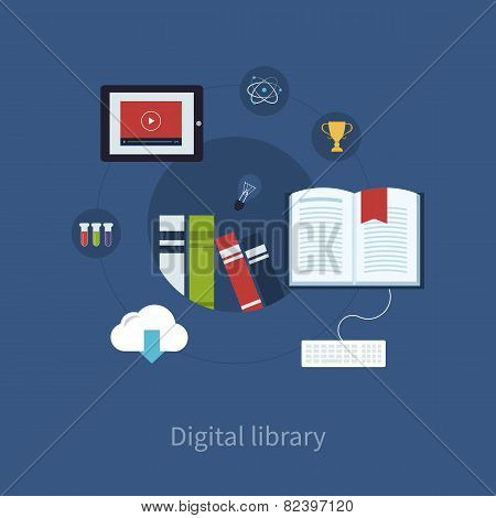 Flat design modern vector illustration icons set of online education