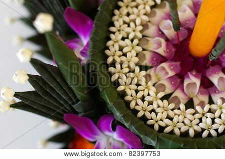 flowers and banana leafs for Krathong
