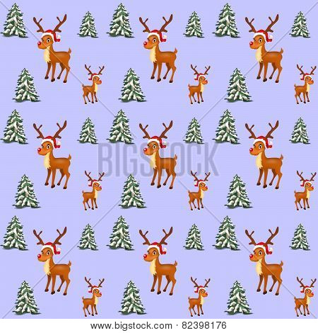 Illustration Of Seamless Patter With Funny Reindeer