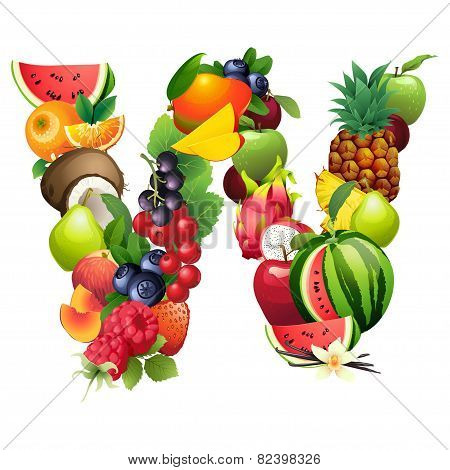 Letter W composed of different fruits with leaves