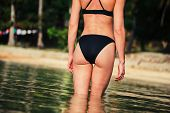stock photo of derriere  - Rear of a sexy young woman wearing a bikini on a tropical beach - JPG