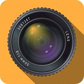 image of mm  - Icon of a 50 mm camera lens with orange background - JPG
