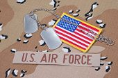 picture of camouflage  - US AIR FORCE concept with dog tags on camouflage uniform - JPG