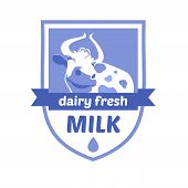 picture of milk products  - Vector logo with the image of a cow - JPG