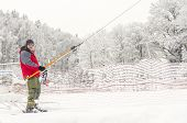 picture of nordic skiing  - Skier on ski lift - JPG