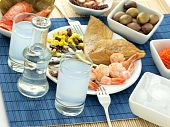 image of ouzo  - Misc seafood and greek alcohol drink ouzo - JPG