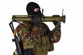 pic of akm  - Ukrainian volunteer with RPG grenade launcher isolated on white - JPG