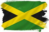 stock photo of jamaican flag  - Jamaica flag backdrop background texture isolated on white - JPG