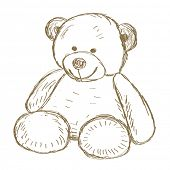 picture of teddy  - Hand drawn Teddy bear doodle Vector illustration - JPG