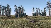 foto of dinosaurus  - prehistoric landscape with mamenchisaurus dinosaur - JPG