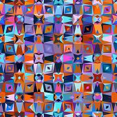 stock photo of bohemian  - Colorful geometric abstract pattern with variety of shapes and colors in 1970s fashion style - JPG