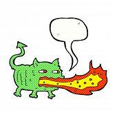 pic of fire-breathing  - cartoon fire breathing imp with speech bubble - JPG