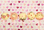 foto of cake pop  - Tasty cake pops on color background - JPG