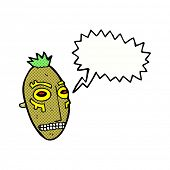 picture of cannibalism  - cartoon tribal mask with speech bubble - JPG