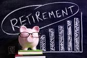 pic of retirement  - Pink piggy bank with glasses standing on books next to a blackboard with retirement savings message - JPG