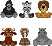 stock photo of venomous animals  - Vector illustration set of funny exotic animals - JPG