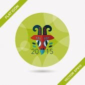 foto of chinese zodiac animals  - Chinese New Year Flat Icon With Long Shadow - JPG