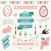 picture of happy easter  - Vector collection of cute retro icons for easter design - JPG