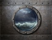 stock photo of storms  - old ship metal porthole or window with sea storm - JPG