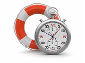 picture of stopwatch  - Stopwatch and lifebuoy - JPG
