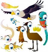 pic of meerkats  - Cute funny comic cartoon vector big eyes animal set  - JPG