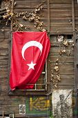 pic of crescent  - Turkish flag on a wall in Istanbul - JPG