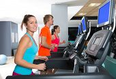 foto of treadmill  - Gym treadmill group running indoor women and blond man - JPG