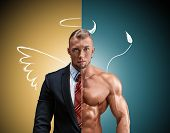 image of angel devil  - Attractive man in a business suit and without it on a yellow - JPG