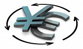 pic of yen  - Euro and Yen symbols with four circular arrows over white background Illustration of exchange between two currencies - JPG