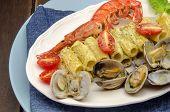 pic of carbonara  - Macaroni carbonara sauce and seafood served on a plate - JPG