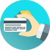 stock photo of debit card  - Hands holding bank cards in vector design style - JPG