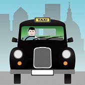 stock photo of hackney  - A Black London Taxi Cab in the City - JPG