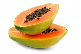 foto of papaya fruit  - close up of the papaya fruit isolated on white - JPG