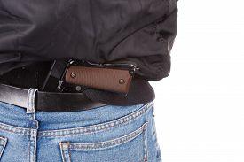 stock photo of handgun  - back view of robber with handgun isolated on white bacground - JPG