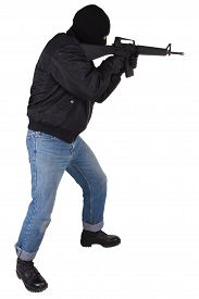 image of m16  - Robber with M16 rifle isolated on white background - JPG