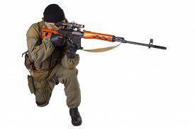 stock photo of sniper  - mercenary sniper with SVD sniper rifle isolated on white background - JPG