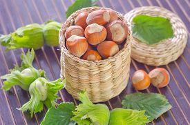image of cobnuts  - hazelnuts on a table - JPG