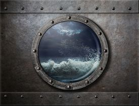 image of ironclad  - old ship metal porthole or window with sea storm - JPG