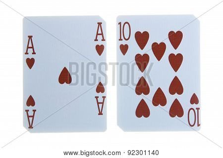 Best Classic Blackjack Combination Ten And Ace Of Hearts